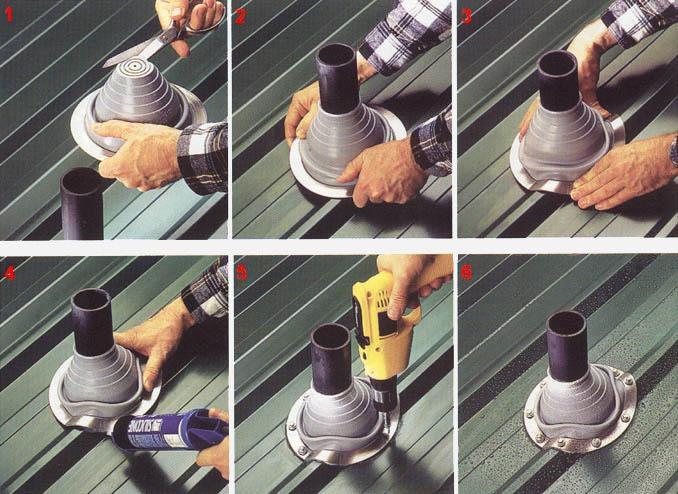 примыкание металлочерепицы к трубе